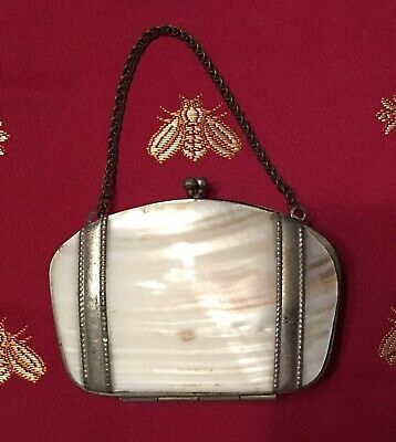 Vintage Victorian Clam Shell Mother of Pearl MOP Small Coin Purse Floral - Doll