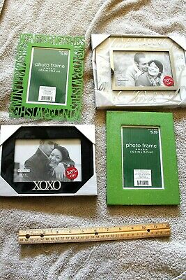 4  New  4 X 6 Picture Frames   Love  Winter Wishes  Wood - Glass- Metal