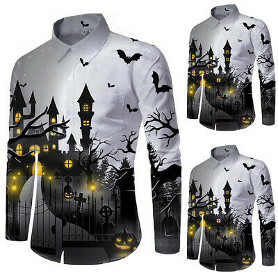 Mens Printing Long Sleeve Button Down Lapel Shirts Halloween Party Costume Tops