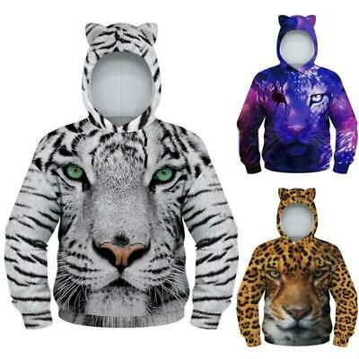 Boys Girls Kids Sweatshirt Animal Printed Hoodie Jumper Pockets Sweatshirt Tops