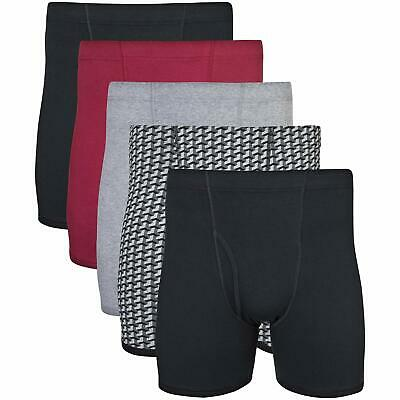 Gildan Men's Covered Waistband Boxer Brief 5 Pack Grey/ Black Large