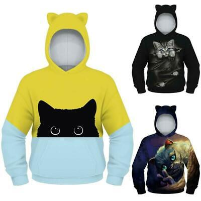 Kids Boys Girls Sweatshirt Animal Printed Hooded Jumper Casual Sweater Fit Tops