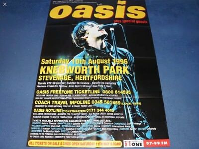 """Genuine Rare 22 year old oasis promo Poster 1996 Knebworth 60"""" 40""""Liam Gallagher"""