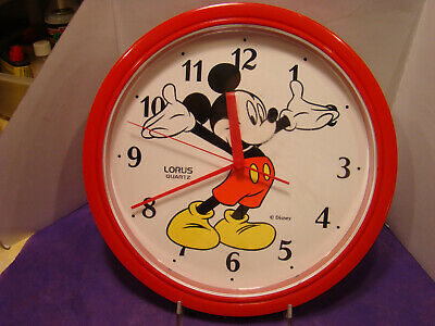 Vintage Red Disney Mickey Mouse Lorus Quartz Wall Clock Japan 10.5 in-VGC