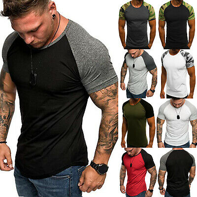 Men T-Shirt Tops Fitness Bodybuilding Gym Muscle Summer Training Slim Tee Shirts