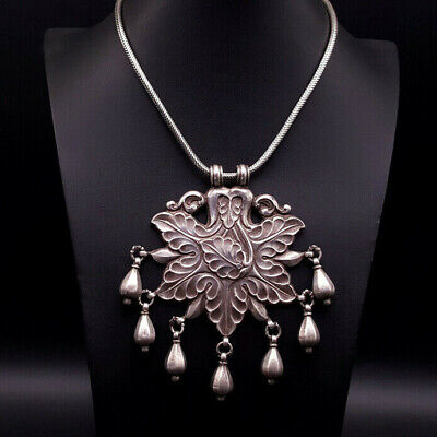 Vintage Ethnic Tribal Necklace, India, Horse Trapping, Sterling Snake Chain