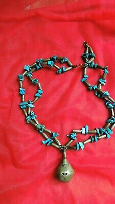 Tribal Turquoise and Brass Ball Pendant Bead Beaded Necklace