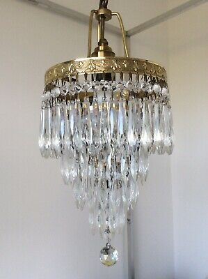 A Fabulous Elegant Vintage French 4-tier 'Icicle' Crystals Waterfall Chandelier.