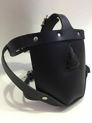Genuine Leather Bondage Padded Face Muzzle Locking Head Harness