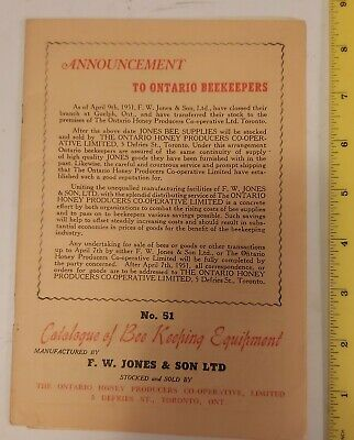 "Rare (Toronto) 1951""Catalogue Of Bee Keeping Equipment - No. 51"" Excellent Nos"