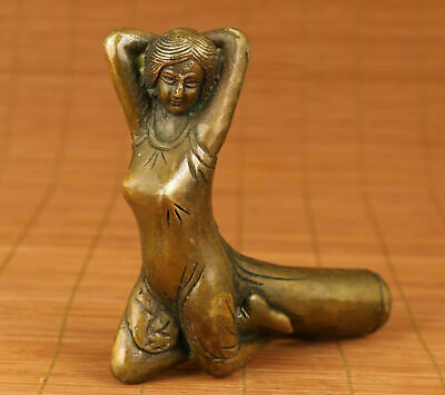 Chinese Old Bronze Handmade Carved Belle Statue Walking Stick Head