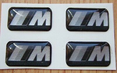 4 BMW Black Silver M Tech Alloy steering Wheel sticker badge M3 MV3 Carbon fibre