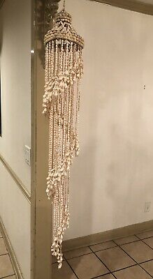 "HANGING SEA SHELL MACRAME STYLE SPIRAL DECOR 56"" Long ~ BEACH VINTAGE"
