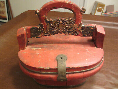 Vintage Antique Circa 1900 Chinese Wedding Dowry Painted Carved Wood Gift Box
