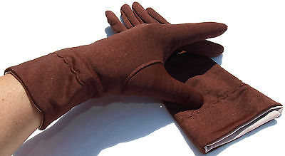 Gloves Women's Vintage Fabric Gloves 60er Turn up Nude Red Brown