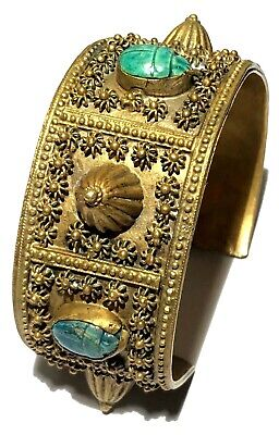 Vintage Artisan Brass  Faience Scarb Figure Bead Egyptian Revival Cuff Bracelet
