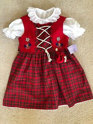 Childs Red Traditional Dirndl Size 2 NWT