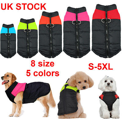 UK Waterproof Warm Coat Pet Small Dog Cat Puppy Zip Coat Jacket Clothes Apparel