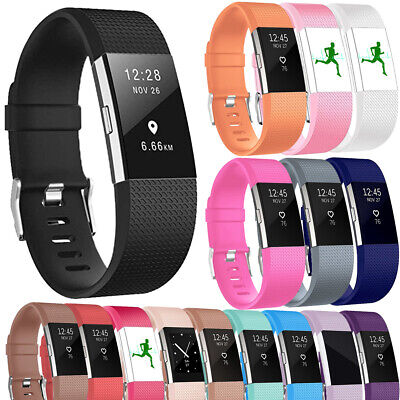 Silicone Rubber Watch Band Belt Wristband Strap Replacement For Fitbit Charge 2