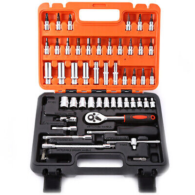 53pcs 1/4inch Ratchet Socket Wrench Tool Kit Car Repair Tool Set with Case Box