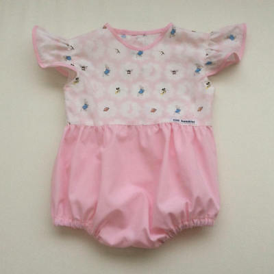 Girls Bubble Romper Size 1 Peter Rabbit Pink Ruffle Sleeves Handmade BNWT