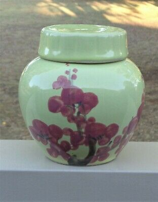 Lovely Vintage Ginger Jar *Yellow Glaze with Hand Painted Pink Cherry Blossoms