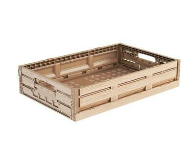 Folding Box in Wood Design 60x40x11 Produce Crate Vegetable