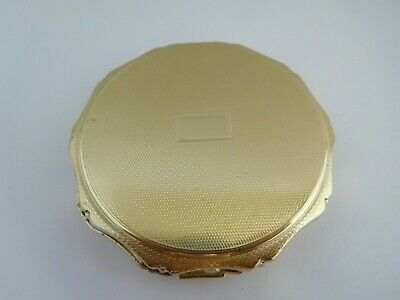 Lovely Retro 1960'S English Sterling Silver Gilt Washed Kigu Compact