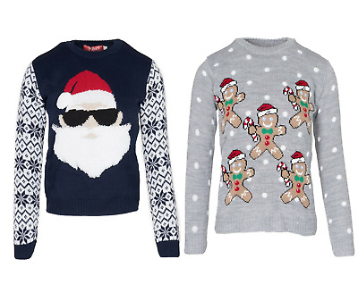 Kids Girls Boys Christmas Santa Sunglass MultiGingerbred Novelty Xmas Jumper Top