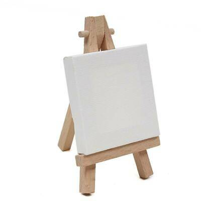 Mini Stretched Painting Canvas 9 x 7cm with Miniature Wooden Easel