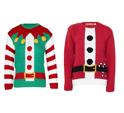 Kids Girls Boys Christmas Santa Elf Costume Print Novelty Xmas Knited Jumper Top