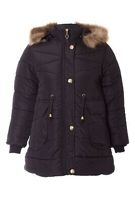 New Kids Girls Padded Quilted Gold Button Zip Fur Hooded Winter Coat Jacket