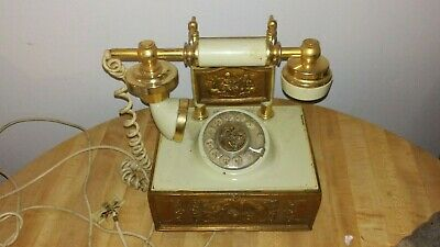 VINTAGE 1970'S FRENCH STYLE ROTARY DIAL TELEPHONE DECO-TEL MODEL 1211 See Descri