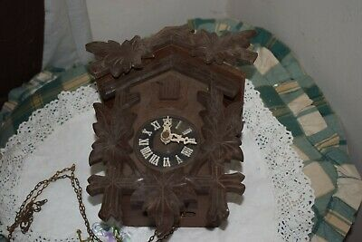 Antique Black Forest Carved Wooden Cuckoo Clock Regula Movement Spares or Repair