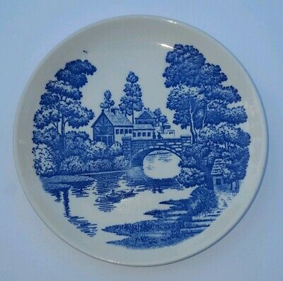 NASCO Vintage Hand Painted Blue & White Bread Plate Lakeview Japan 5 3/4""