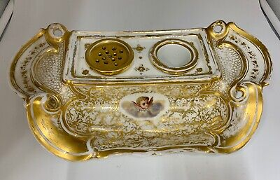 Antique Paris Porcelain Desk Companion Inkstand circa 1830