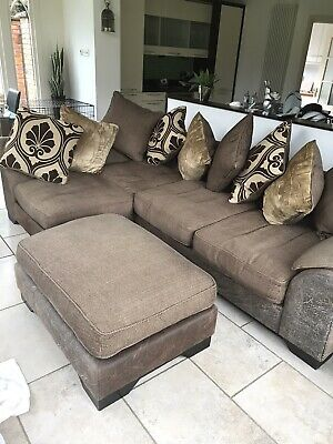 Super Dfs Right Hand Corner Sofa With Swivel Chair And Footstool Bralicious Painted Fabric Chair Ideas Braliciousco