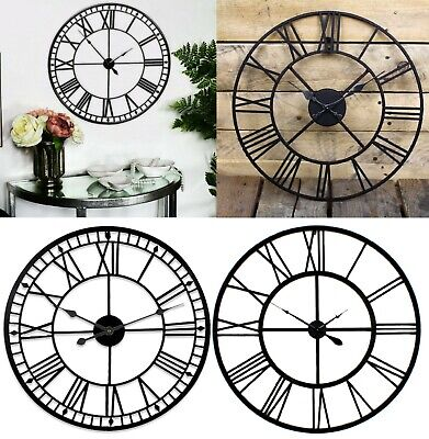Round Roman Numeral Wall Clock Skeleton Antique Home Kitchen Large Vintage Clock