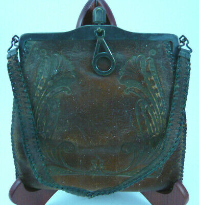 Antique Bosca Built Brand Arts And Crafts Tooled Leather Hand Bag Collectible