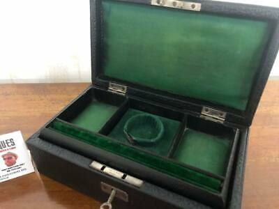 Antique C1930 Leather Bound Jewellery Box with Key