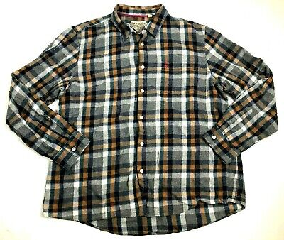 Jack Wills men's flannel shirt XXL gray, black, tan checked, button front, long