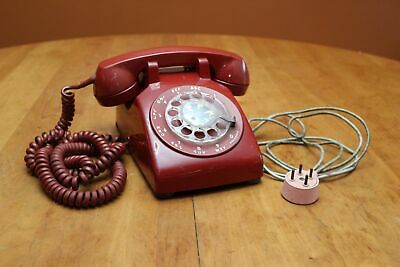 Vintage Apr. 1955 Bell System Western Electric C/D 500 Rotary Dial Telephone RED