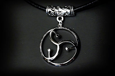 BDSM symbol submissive collar leather choker triskele triskelion necklace slave