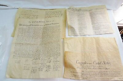 Historic Document Replica Lot 4 Genuine Parchment Constitution Bill Of Rights Ge