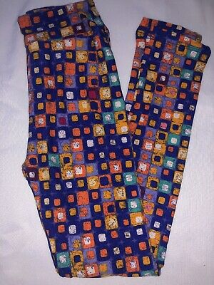(BoxHH) LuLaRoe Kids Leggings L/XL New Purple W/ Multicolor Multi Size Squares