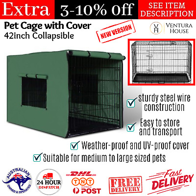 iPet Dog Cage w/ Cover Large Folding Portable Pet Crate Metal Kennel Collapsible