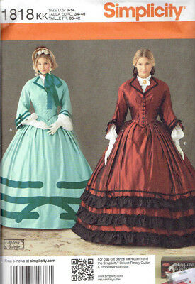 Civil War Era Costume Misses size 8-14 Simplicity 1818 Sewing Pattern