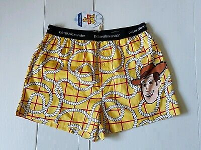 PETER ALEXANDER MENS TOY STORY WOODY BOXER PYJAMA SHORTS in Yellow RRP$49.95