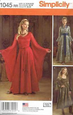 Medieval Gown Costume Misses Size 14-20 Simplicity 1045 Sewing Pattern