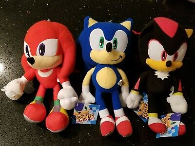 Sonic The Hedgehog Large Knuckles & Shadow & Sonic Stuffed Plush Toy Set 12 Inch